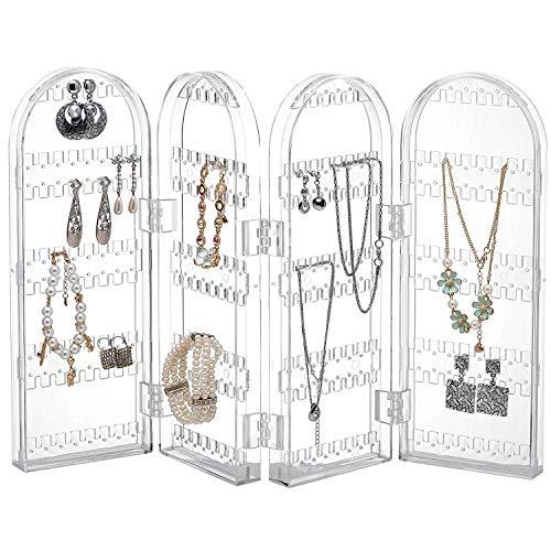 Supporto de orecchini, organiser de pieghevole per gioielli - acrilico trasparente espositore gioielli alto per orecchini, collane e bracciali - contiene fino 120 paia di orecchini - design naturale
