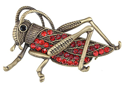 Alilang Frauen Antike Gold Farbton Rot Strass Heuschrecke Cricket Insekt Brosche (Strass-tee)