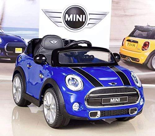 Mini Coche eléctrico para niños, Replica Oficial Cooper Azul a batería de 12v, con Mando de Control Remoto, 1 Plaza