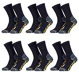 6 Paar 43-46 blau Herren Arbeitssocken Funktionssocken lang verstärkte Ferse und Spitze | Keine Druckstellen, blasenfreie Füße, für Arbeitsschuhe, Trekkingschuhe