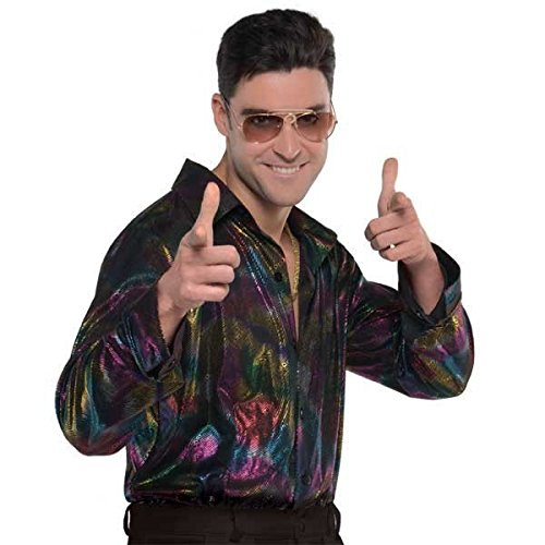 Herren-Hemd 1970s Fancy Dress Party Kostüm Top (Polyester Shirt Disco)