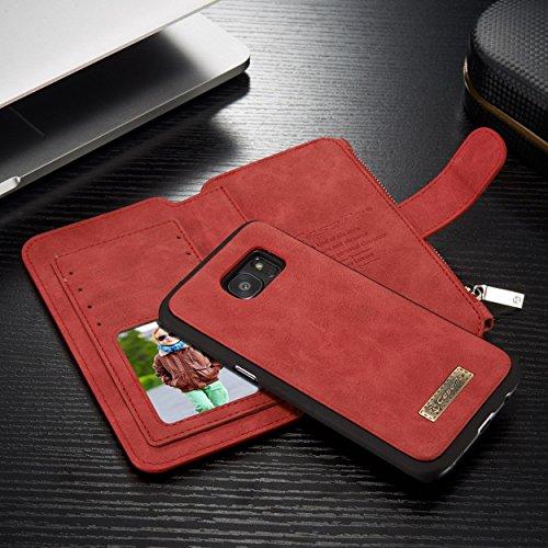 Caseme Safari - Custodia a portafoglio in vera pelle per cellulare, chiusura magnetica, con grande scomparto con cerniera, cavalletto, 13scomparti per carte di credito e cornice fotografica, Pelle, R rosso