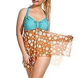 CHENYANG Bikini Tankini Bademode Badeanzug Damen Plus Size Blumenmuster Swimsuit Retro Vintage High Waist Bikini Set Übergröße Oversize Swimwear Bauchweg Stil 3 5XL