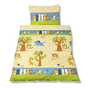 aminata kids kinderbettw sche 100x135 jungen m dchen tiere zoo kindergarten l we elefant giraffe. Black Bedroom Furniture Sets. Home Design Ideas