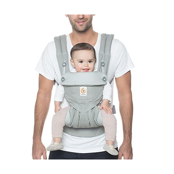 Ergobaby Baby Carrier up to 3 years (12-45 lbs) 360 Pearl Grey, 4 Ergonomic Carry Positions, Front Facing Baby Carrier, Child Carrier Backpack Ergobaby Ergonomic carrier with 4ergonomic carry positions: front-inward, back, hips, and front-outward. New - the waist belt with lumbar support can be worn a little higher or lower to support the lower back and provide optimal comfort, and has adjustable padded shoulder straps. Maximum baby comfort - the structured bucket seat supports the correct frog-leg position for the baby. 3