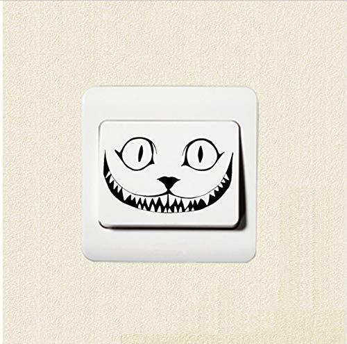 Wandaufkleber Katze Knurren Lächeln Gesicht Halloween Horror Vinyl Schalter Aufkleber Dekoration Wandtattoo (Halloween Für Katze Diy Gesicht)
