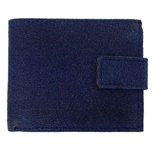 Venetto Echtleder + Filz Leder Portemonnaie Geldbörse Geldbeutel Brieftasche Damen Herren Damenbörse Damengeldbörse Herrenbörse Geldtasche Damenportemonnaie Money Bag (Blau dunkel) -