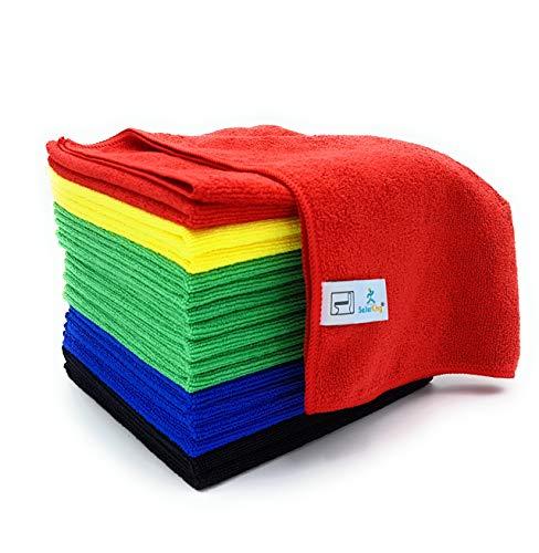 SellerKing® 17 Microfasertücher HGK Plus 40 x 40 cm. Rot, Gelb, Grün, Blau Plus zusätzlich Schwarz Mikrofasertücher für alle Flächen. Universell einsetzbar