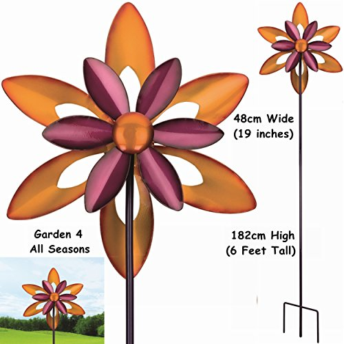 48,3 cm Large lame double Firestar Kinetic Vent Spinner Attrape soleil piquet de jardin Creekwood (Regal Art & cadeau). Grand 182 cm (6 pieds) de haut, 48 cm (48,3 cm Large). 3 dents Fourche solide/piquet