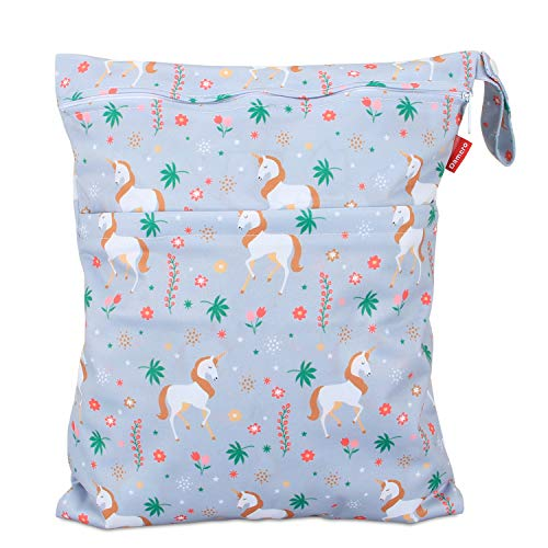 Damero windeltasche wetbag für Unterwegs, wiederverwendbar Nasstaschen für Babys Windeln, schmutzige Kleidung und anderes Zubehör, (Groß, Einhorn)