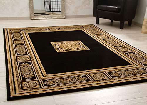 Steffensmeier Wohnzimmerteppich Classical Quality | Kurzflor Teppich in Gold Schwarz, Größe: 200x290 cm, Isfahan Perserteppich orientalisch gemustert