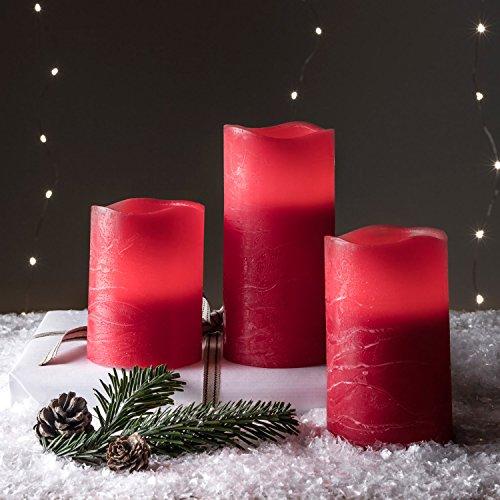 Conjunto de 3 velas LED rojas en cera natural con acabado desgastado de Lights4fun