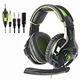 Sades SA810 Stereo Gaming Headset für PS4, PC, Xbox One, Noise Cancelling über Ohr Kopfhörer mit Mikrofon, LED-Licht, Lautstärkeregler, Bass Surround für Laptop Mac iPad iPod Smart Phones