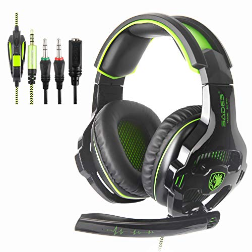 SADES SA810 PS4 Gaming Headset Kopfhörer mit Mikrofon 3.5mm On Ear Surround Sound Ohrhörer und Lautstärkeregelung für PS4 Xbox One PC Laptop Tablet Mobile Phones(Grün)