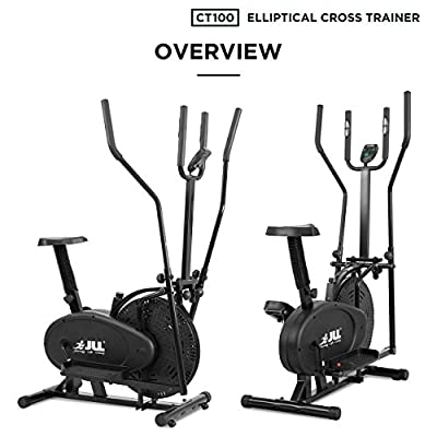 JLL CT100 Crosstrainer, elliptisch, anpassbarer Widerstand, Konsolenanzeige, Sitz 5-stufig verstellbar, Griffe 4-stufig verstellbar Farbe: Schwarz