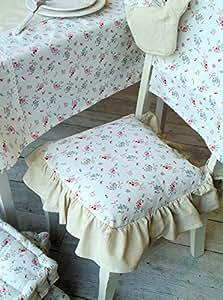 Coussin de chaise à volant Romantique shabby chic - Motif Fleurs - 40x40 cm - Blanc / Rose / Lin - 80% Coton / 20% Lin