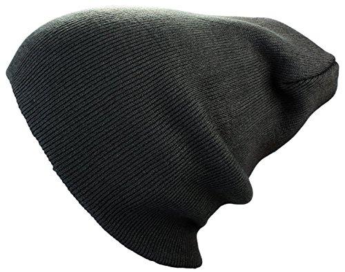 Bonnet XXL Long / Basic Flap en Noir Bonnet Femmes / Homme Bonnets d'Hiver tricoté in Noir, rouge, gris, vert, olive, marron, bleu gris foncé