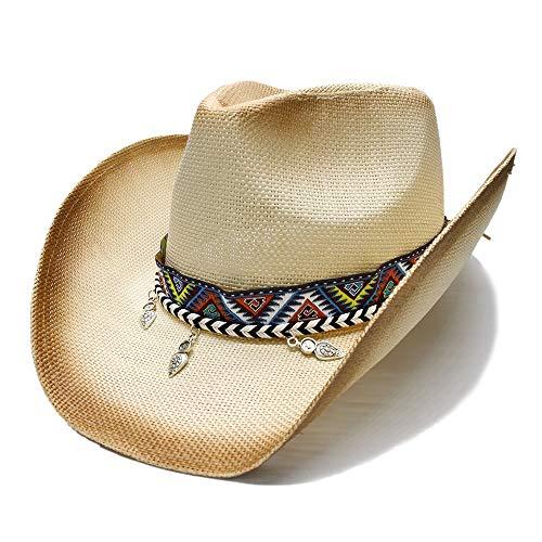 HÖHERE MÄNNER Damen Herren Sommer Mode Klassiker Stroh Strand Sonnenhut Breiter Krempe Cowboy Western Cowgirl Fedora Hut National Style Anhänger Perlen Lederband (Farbe : 1, Größe : 56-58CM) (Alle Nationalen Kostüm)