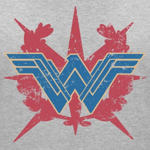 Warner Bros Wonder Woman Logo Look Usé T-shirt col V Femme de Spreadshirt®‎ gris chiné