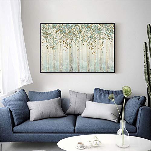 Rjjwai Handgemalte Messer Gold Baum Ölgemälde Auf Leinwand Große Palette 3D Gemälde Für Wohnzimmer Moderne Abstrakte Wandkunst Bilder Schlafzimmer Dekor 60x90cm -