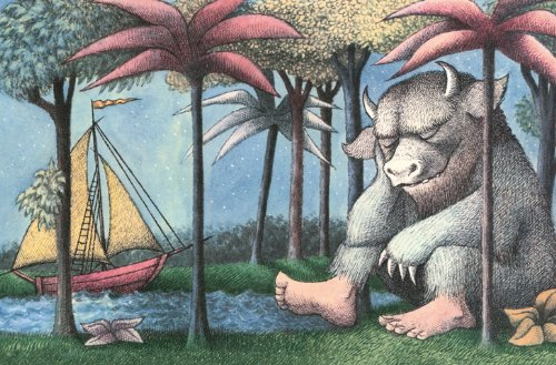 The Art Group Maurice Sendak (Where The Wild Things Are) Leinwanddruck, Holz, mehrfarbig, 30 x 40 x 1,3 cm