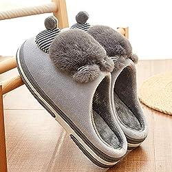 YMYGYR Pantuflas Cálido,Zapatillas de algodón de Dibujos Animados para Mujer, Zapatos Antideslizantes para Gatos 3D para el hogar más Terciopelo para Mantener el Gris cálido 40-41