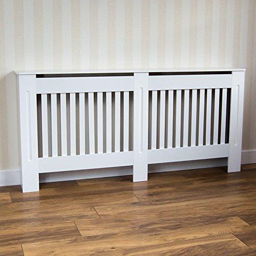 Home discount chelsea radiatore copertura grill a doghe moderno mobiletto a doghe in legno mdf laccato bianco, extra large