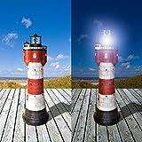 Westerholt Solar Leuchtturm Roter Sand mit rotierendem LED Reflektor und viel Liebe zum Detail 50 cm