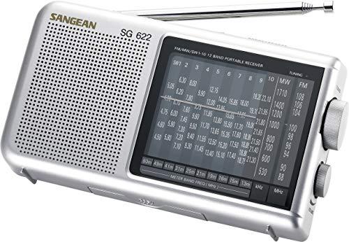 Sangean SG-622 tragbarer Weltempfänger (UKW/KW/MW-Tuner, Netz/Batteriebetrieb) Silber