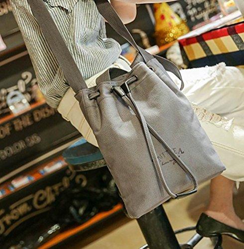 Baymate Donne Conciso Borse Riutilizzabili Colore Puro Shopping Bag Grigio Chiaro