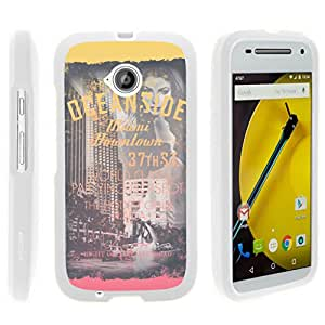 Motorola Moto E (2nd Generation) XT1527 Case Rubberized Snap On Shell Full Cover Case Slim Fitted White Cover with Unique