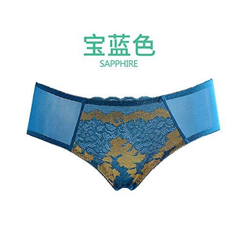 Damen neue Luxus Stickerei Komfort hip Slip XL blau