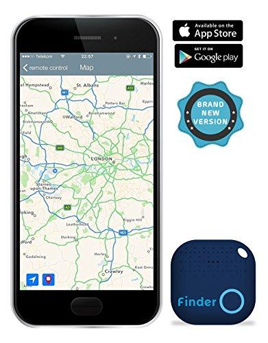 musegear Key Finder Version 2, localisateur et traqueur sonore pour retrouver clés, portable, portefeuille grâce à l'appli, volume 3 fois plus fort – connecté Bluetooth et GPS, couleur Bleu