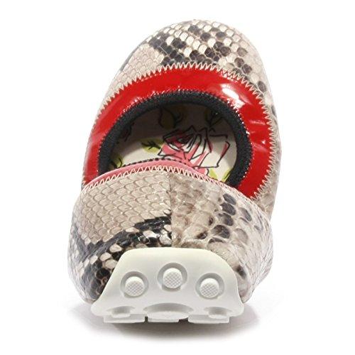 Car Shoe ballerine donna in pelle originale grigio Rosso/Grigio