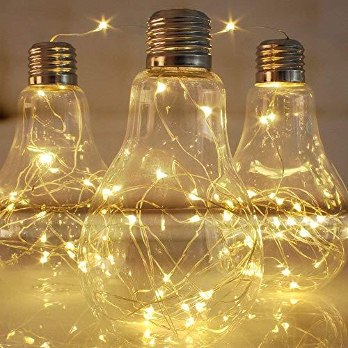 100er LED Outdoor Lichterkette mit Fernbedienung und Timer Batterienbetrieben Warmweiß (8 Modi, 11M Flexible Silberdraht, IP65 Wasserdicht, Außenbeleuchtung)