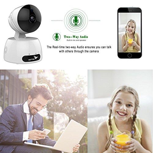 Telecamera di Sorveglianza IP camera wifi Rottay 720P HD wireless,Obiettivi Ruotabile, Audio Bidirezionale, Modalit¨¤ Notturna a Infrarossi, Controllo Remoto, Compatibile con iOS e Android e PC - 2
