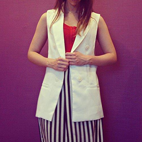 Highdas Women Long Vest Coat Fashion Style Waistcoat Sleeveless Jacket Outwear Casual Top Weiss-3