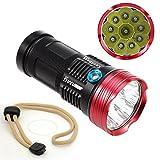 High Power Taschenlampe 10 x T6 LED Taschenlampe 3 Modi Wiederaufladbare Scheinwerfer Wasserdichte Scheinwerfer White Riesige Strahl Lampe für Notfall Jagd Camping Wandern Outdoor Activitiess 4 x 18650 Batterie (nicht enthalten Batterie)
