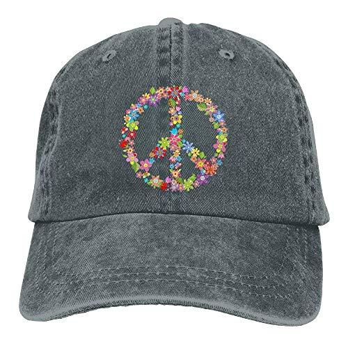 Xukmefat Floral Peace 3 Denim Hat Adjustable Womens Baseball Cap 0605