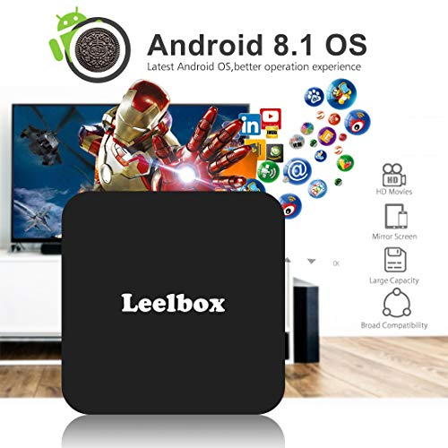 TV Box Android 8.1, Android Box con Mando Inteligente, Leelbox Q4 RK3328 Quad Core 64 bit 4 GB RAM 32 GB ROM Smart TV Box, 2.4G Wi- Fi, HDMI, Box TV UHD 4K TV