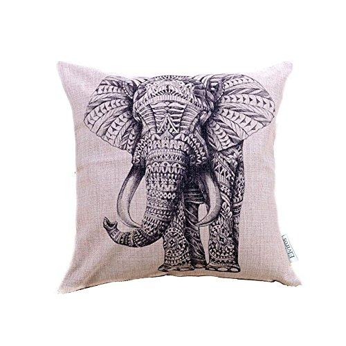 Elviros Dekorativ Baumwoll Leinen Mix Kissenbezug 45 x 45cm-Elefant -