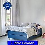 S.Ariba Boxspringbett Roma Blau 160 x 200 cm mit Topper H2 Hotelbett Premiumbett Polsterbett Made in EU in den Größen 140x200cm, 160x200cm, 180x200 cm und Farben Grau, Hellgrau, Dunkelgrau, Blau und Pink