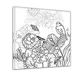 Bilderdepot24 Blumen Vogel Schmetterlinge - Ausmalbild auf Leinwand, aufgespannt auf Rahmen - Quadrat-Format - 50x50 cm - Eigene Herstellung, Faire Produktion in Deutschland
