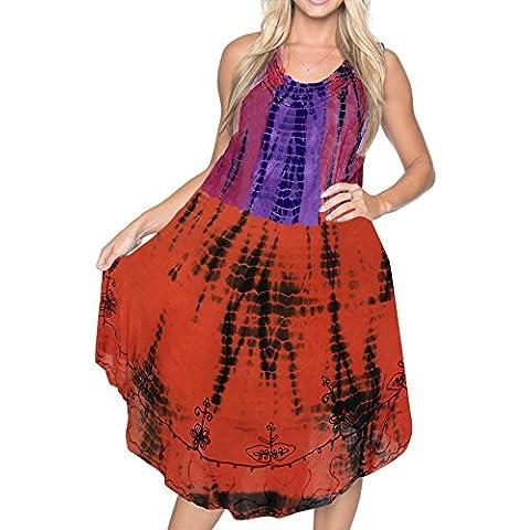 La Leela diseñador de bordado vestido corto ocasional teñido anudado multicolor