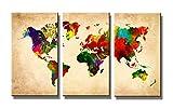 kostenfreier-Bilderversand-in-Deutschland 120 x 80 cm Bild auf Leinwand Weltkarte 4402-VKF deutsche Marke und Lager - fertig gerahmt, Exklusive Markenware von Visario