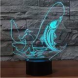 Hombre de pesca, lámpara de mesa táctil, 7 colores que cambian la lámpara 3D Novedad Peces Led luz de la noche regalo de Navidad