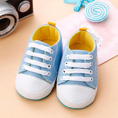 Igemy 1 Paar Neugeboren Säugling Baby Mädchen Krippe Schuhe Soft Sole Anti-Rutsch Sneakers Bandage Schuhe Hellblau