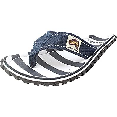 Women's Girls Boys Gumbies Summer Flip Flops Toe Post Slip On Mules Sandals NEW (UK 4, Stripe)