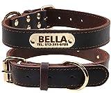 TagME Personalisierte Hundehalsbänder aus Leder mit Eingraviertem Namen und Telefonnummer/Hundehalsbänder aus Echtem Leder für Große Hunde/Braun
