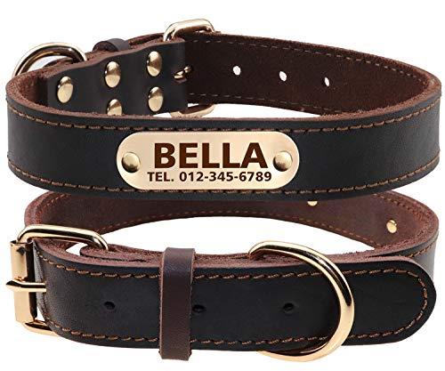 TagME Collar de Perro de Cuero Personalizado,Placa de Identificación Grabada con Nombre y número...